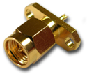 SMA 2 hole panel mount plug with solder cup